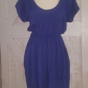 Blue dress w/lace like detail back & POCKETS.